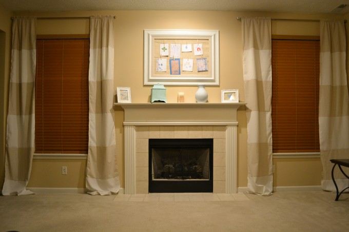 Horizontal Striped Curtains With Big Frame And Ceramic Floor