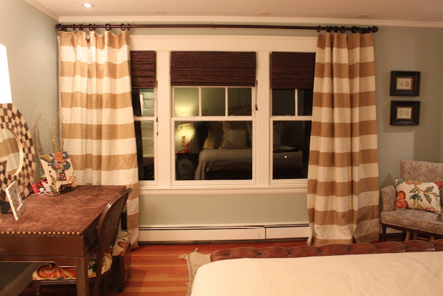 Horizontal Striped Curtains With Desk And Wooden Floor