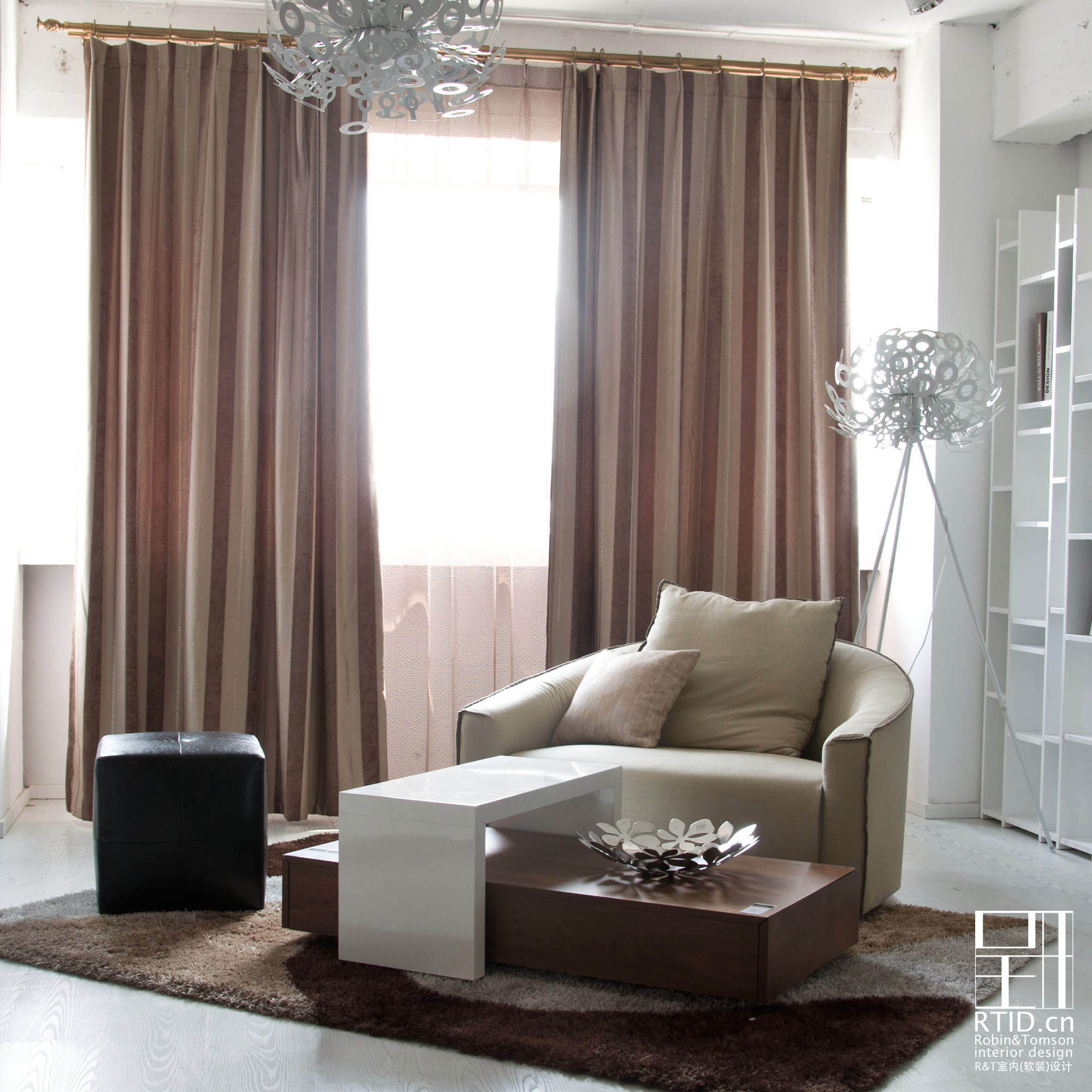 horizontal striped curtains with modern design sofa and carpet feat