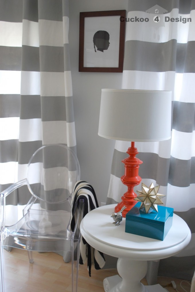 Horizontal Striped Curtains With Table Standing Lamp And Transparent Chair