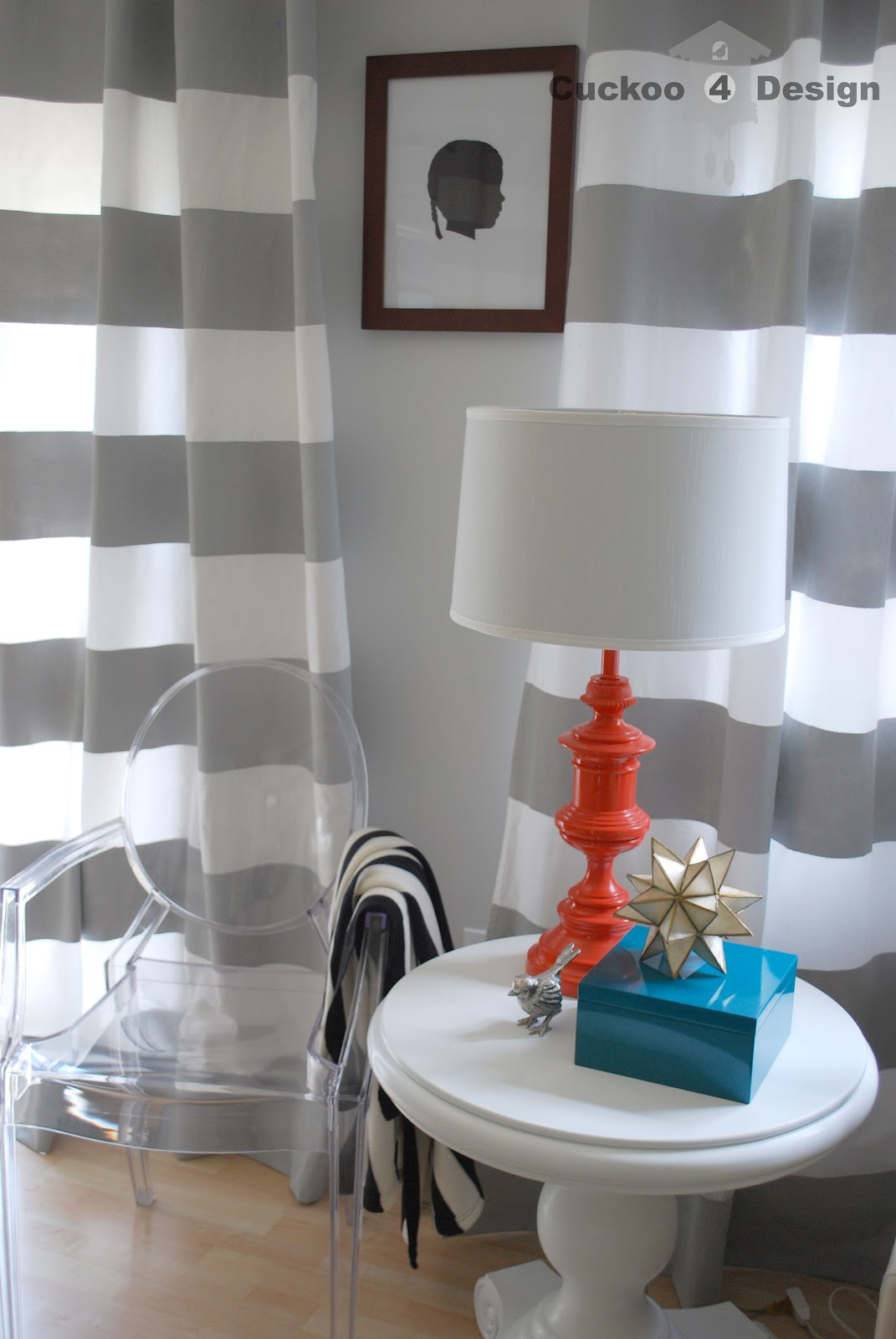 Red and white striped curtain panels - Horizontal Striped Curtains With Table Standing Lamp And Transparent Chair