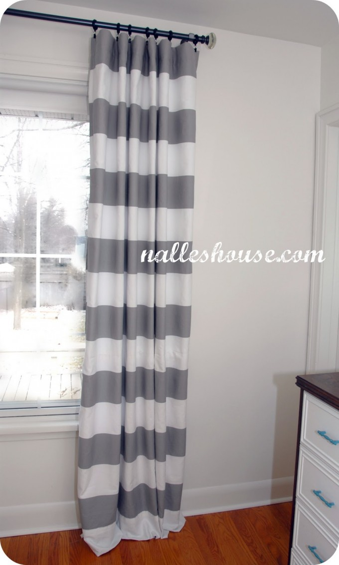 Horizontal Striped Curtains With White Wall For Bedroom Interior Ideas