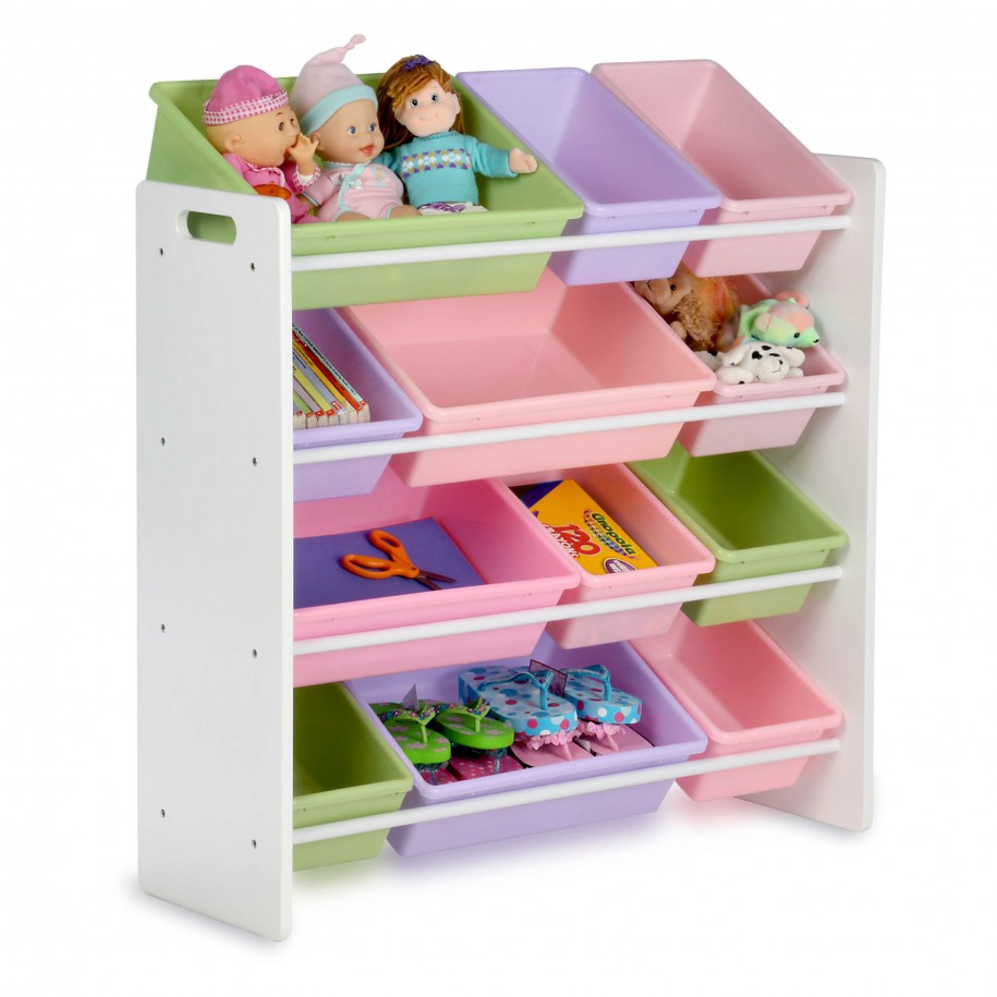 ikea toy storage filled with boxes which filled with dolls and other toys