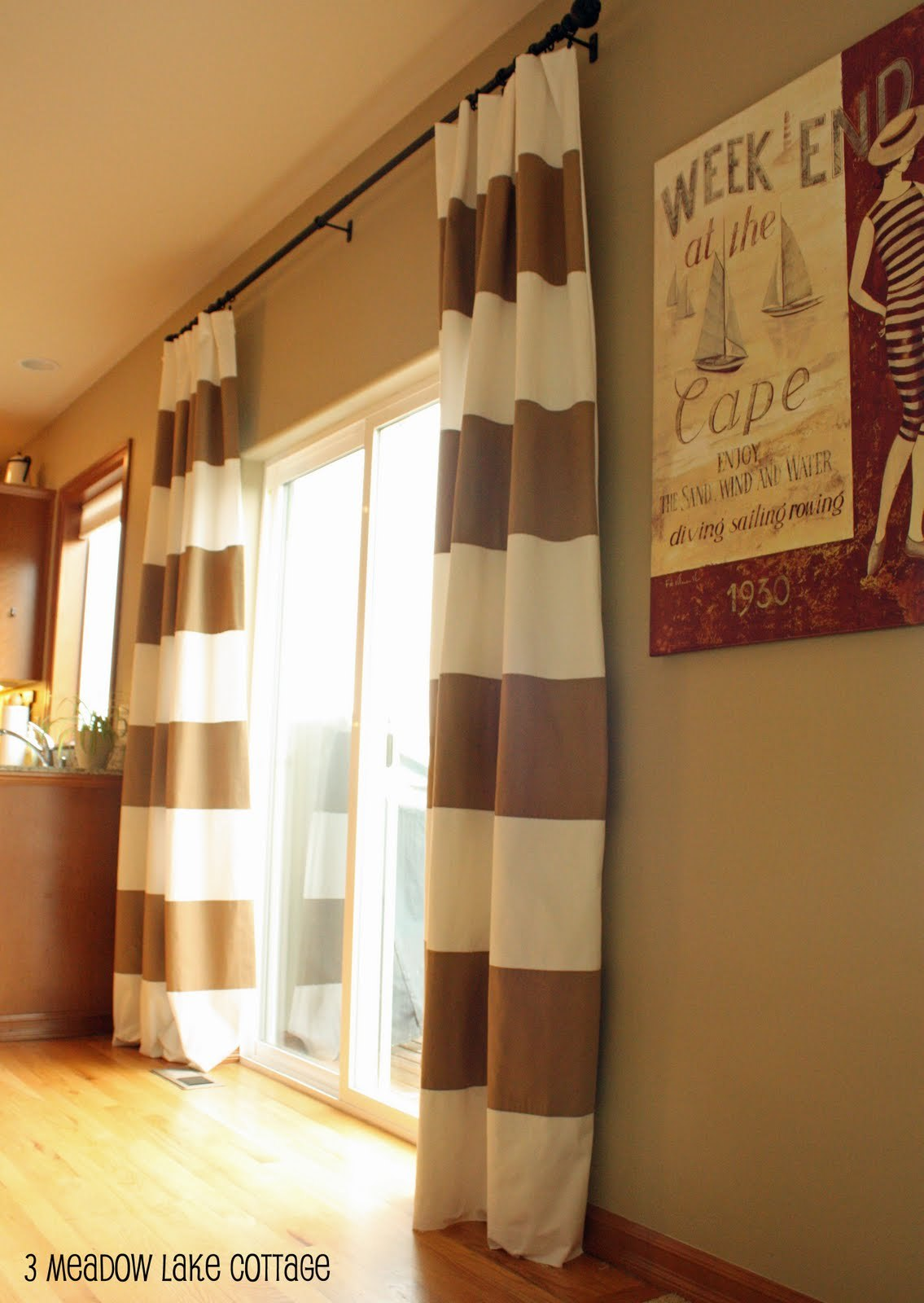 Incredible Tan And White Horizontal Striped Designed with rectangle slide glass door