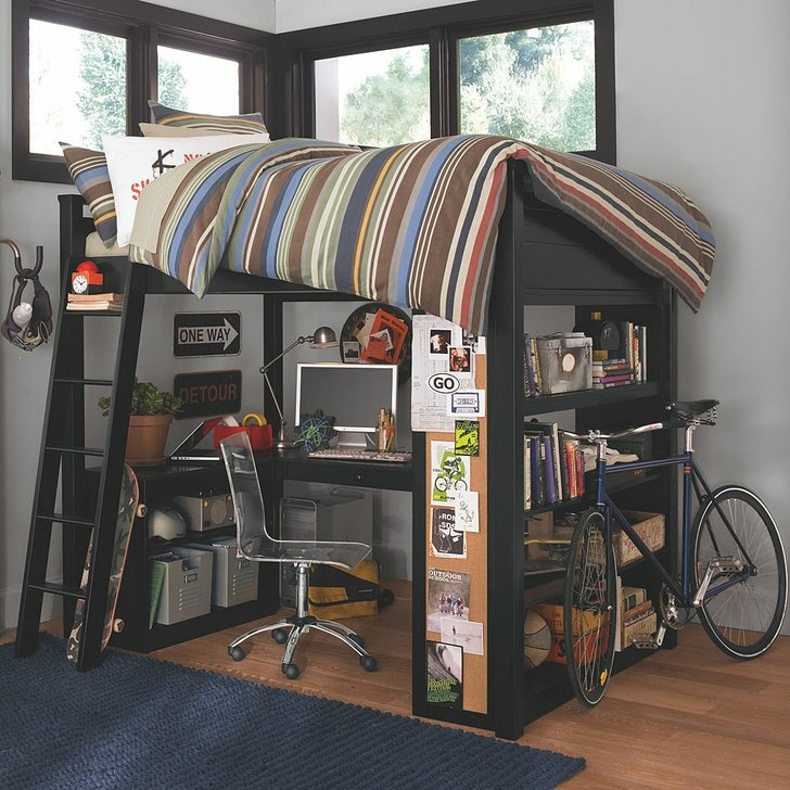 inpiring loft beds for teens with bookshelf and blue carpet plus bycicle