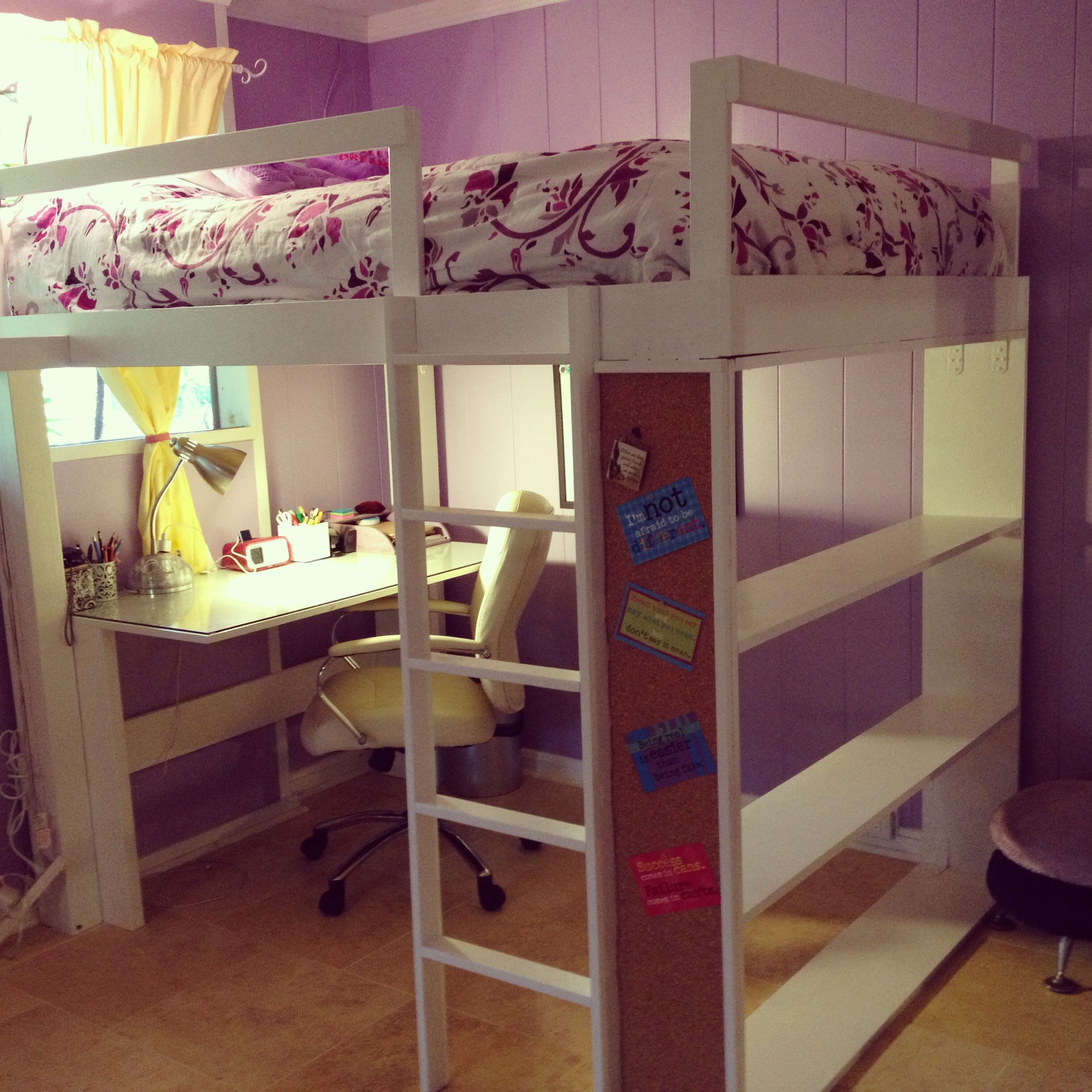inspiring Loft Beds For Teens with violet theme and small study area bellow