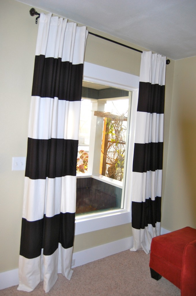 Interesting Black & White Striped Curtains For Pictures Window
