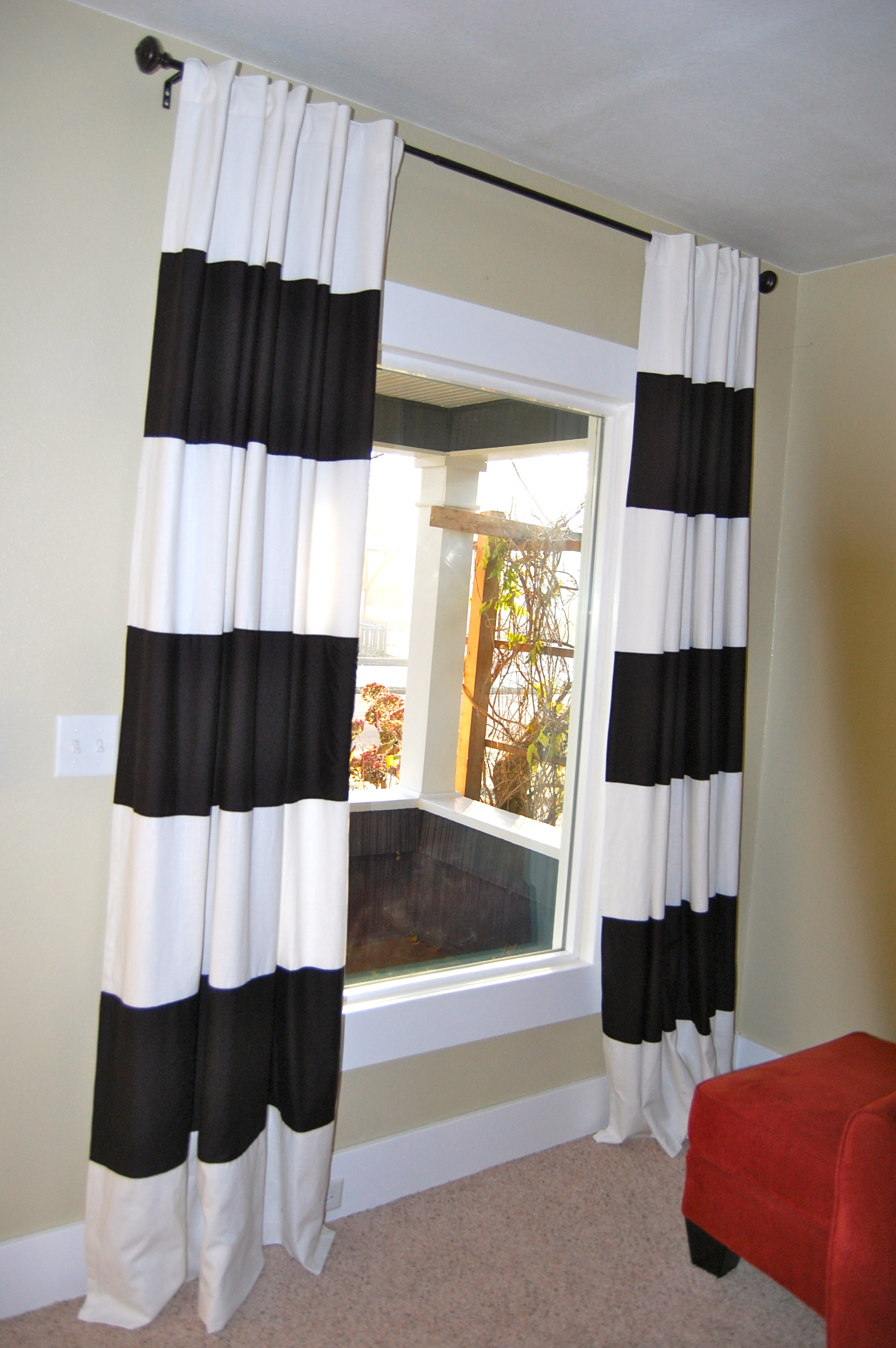 Good Interesting Black U0026 White Striped Curtains For Pictures Window