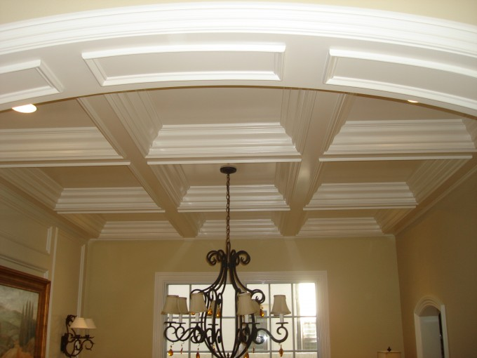 Interior & Decoration Wood Coffered Ceiling Kits With White Color Ideas Plus Chandelier