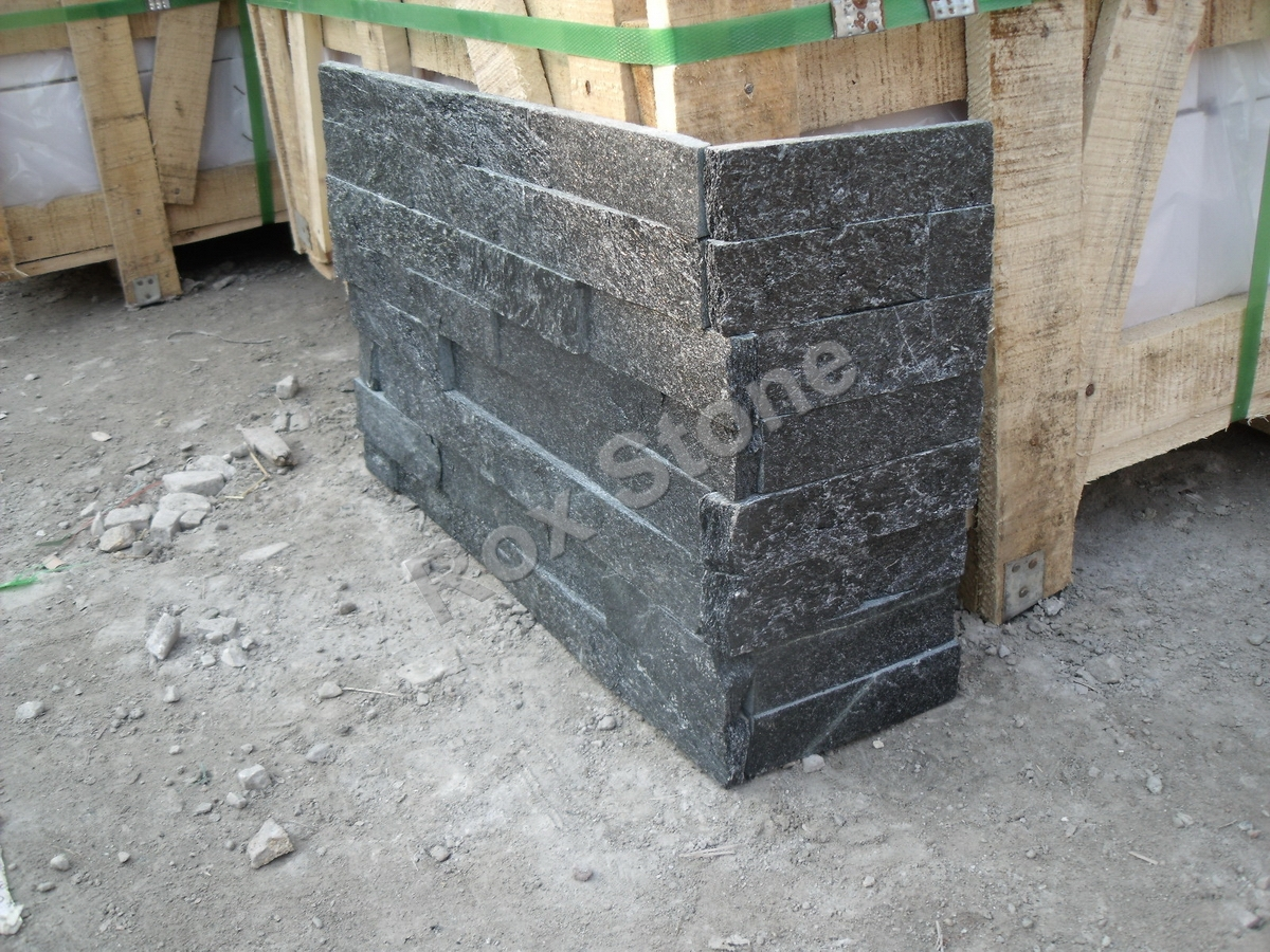 Interlock Black Quartzite Natural stone veneer panels