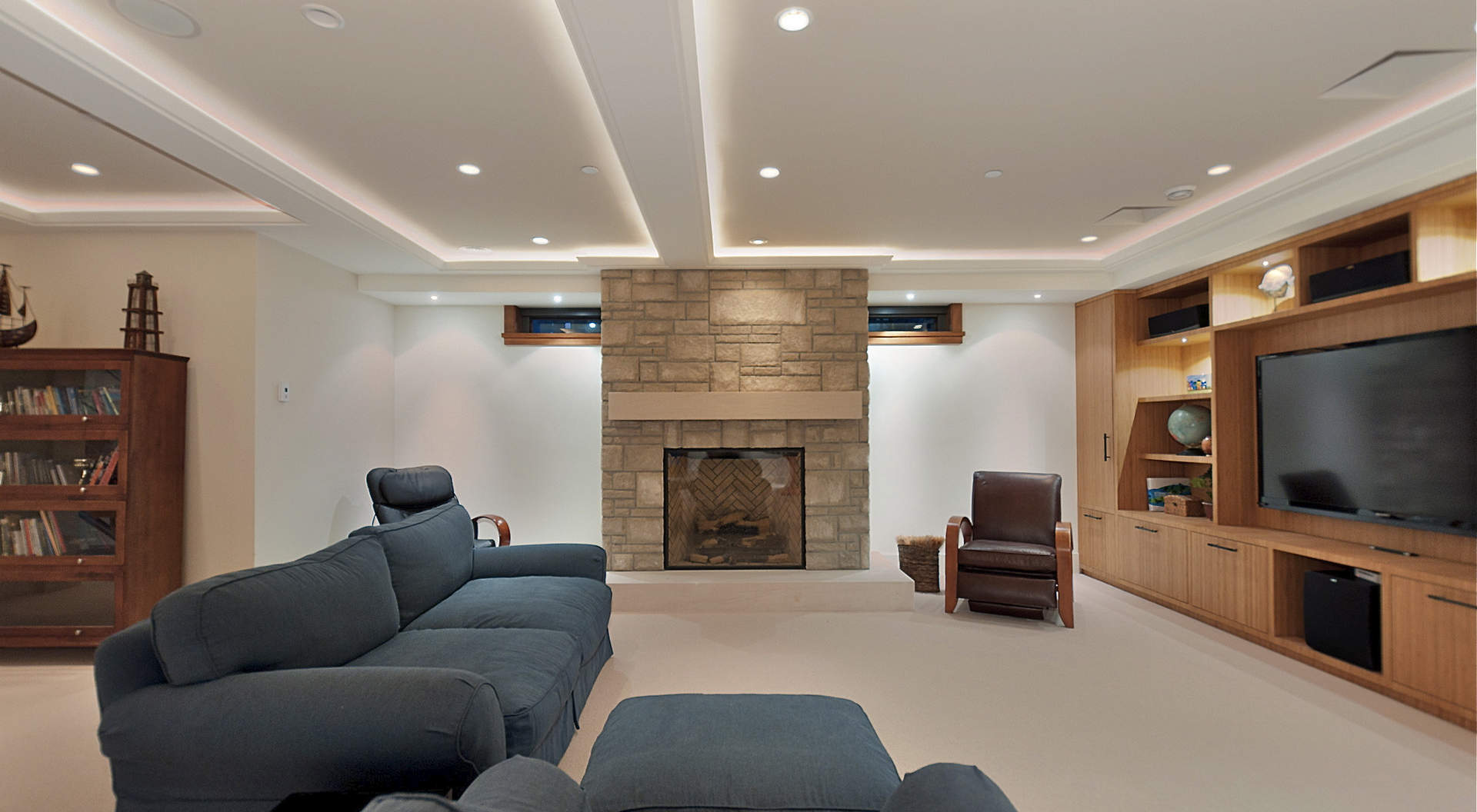 Knockout Interior Appealing Modern White Coffered Ceiling With Lights  Matched With White Wall Plus Fireplace And Grey Sofa