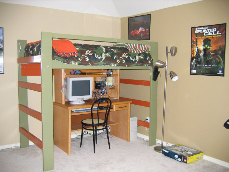 loft beds for teens with army theme and desk plus computer sets
