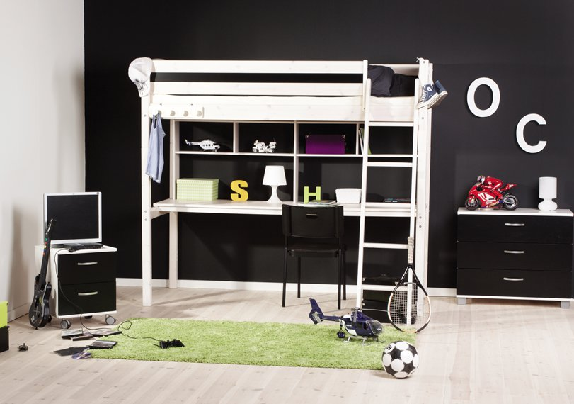 loft beds for teens with black wall desk plus playstation area and green carpet