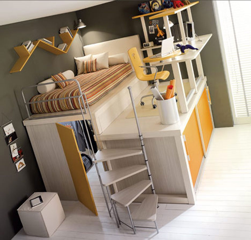 loft beds for teens with stripped bed linen plus good placement of study area
