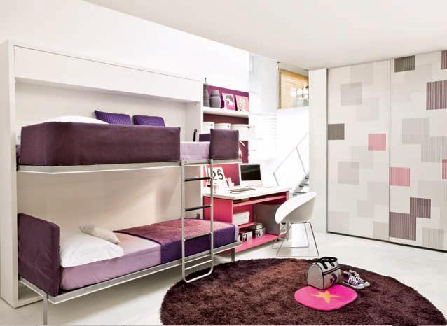 loft beds for teens with white wall and purple bed cover round carpet for your inpiring teen room