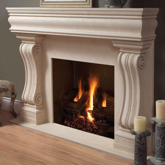 Lovable Fireplace Mantel Kits With Candle And Grey Wall For Home Decor Ideas