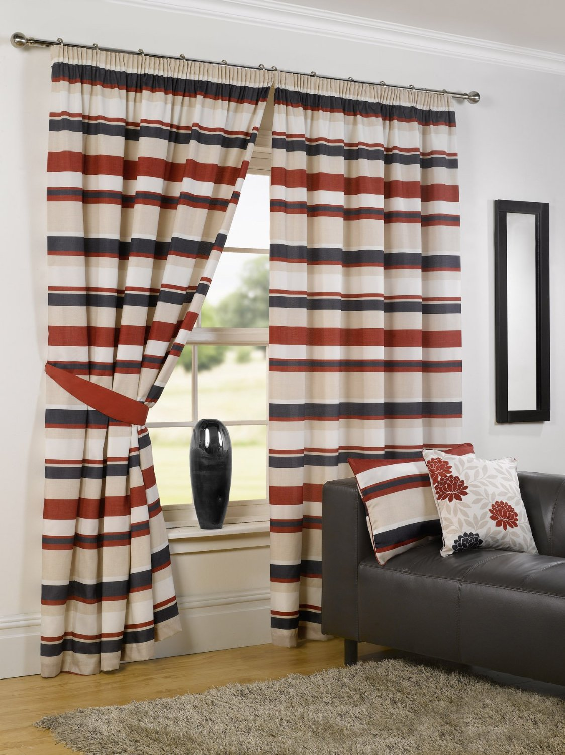 lovely colorful horizontal striped curtains with maching pillow and white wall