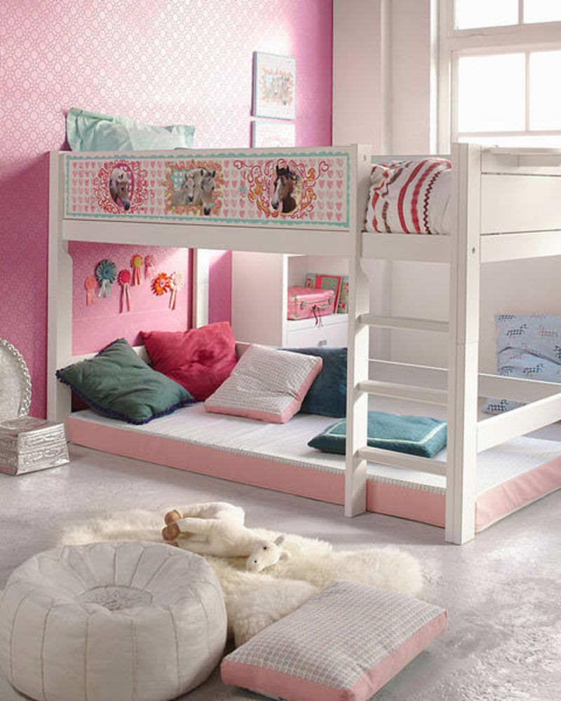 lovely double loft beds for teens with pink wall and horse sticker