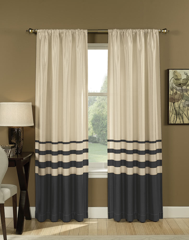 lovely horizontal striped curtains with floor standing lamp and picture