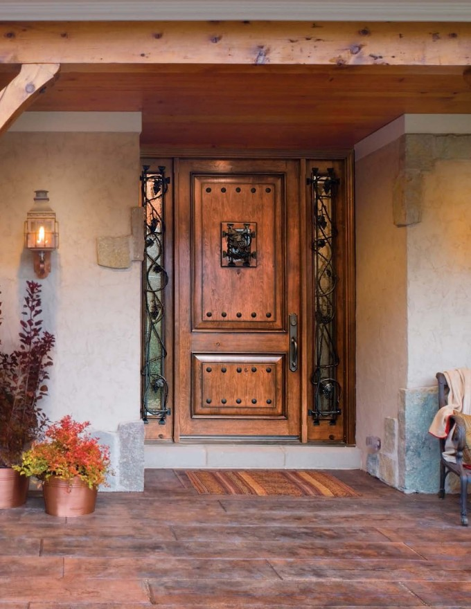 Luxury Entry Door With Sidelights Matched With Wooden Floor And White Wall Plus Flowers