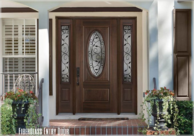 Luxury Entry Door With Sidelights With Leaf Ornament And Black Handle