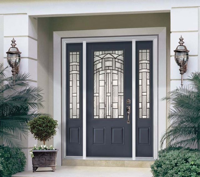 luxury Entry Door With Sidelights with white wall plus double light on wall