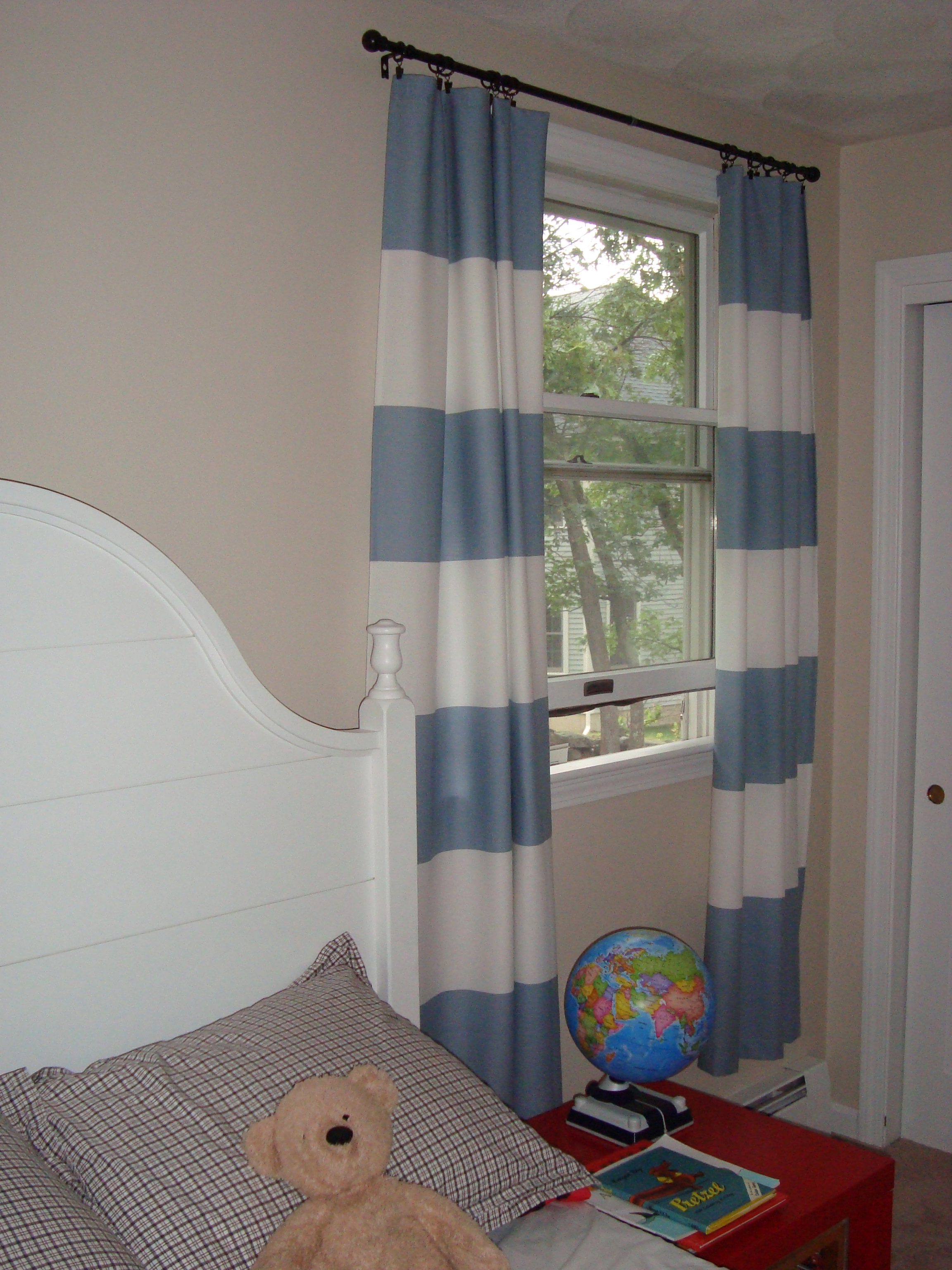 luxury Horizontal Striped Curtains with single hung window and bedroom