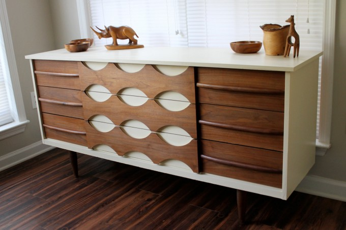 Luxury Mid Century Dresser In Brown And White With White Window And Wooden Floor