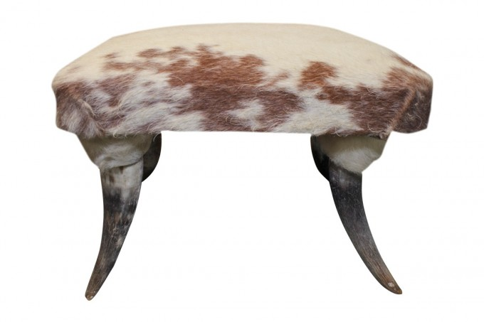 Luxury Vintage Cowhide Ottoman With Horn Legs