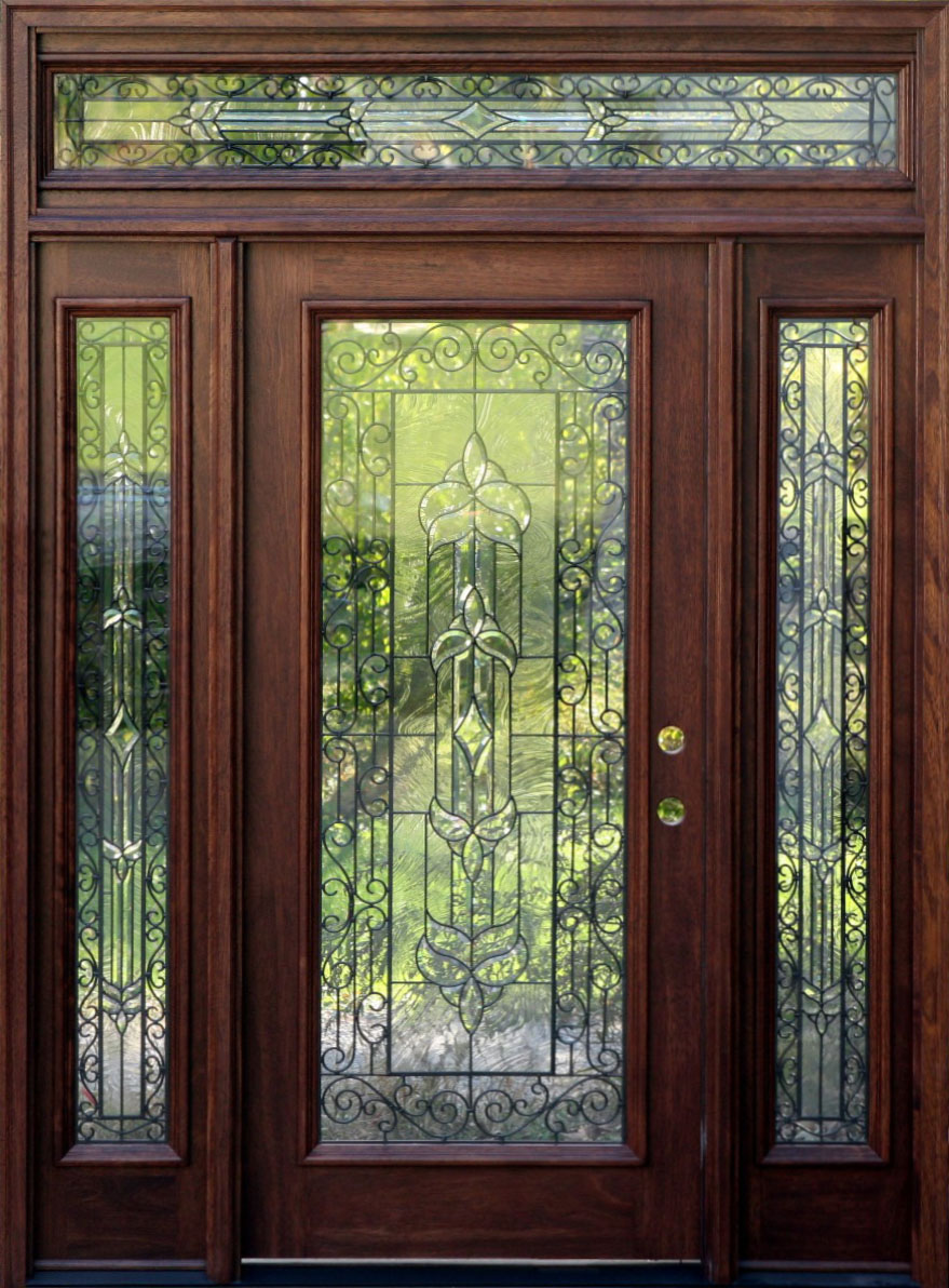 Mahogany entry door with sidelights with natural brown wood