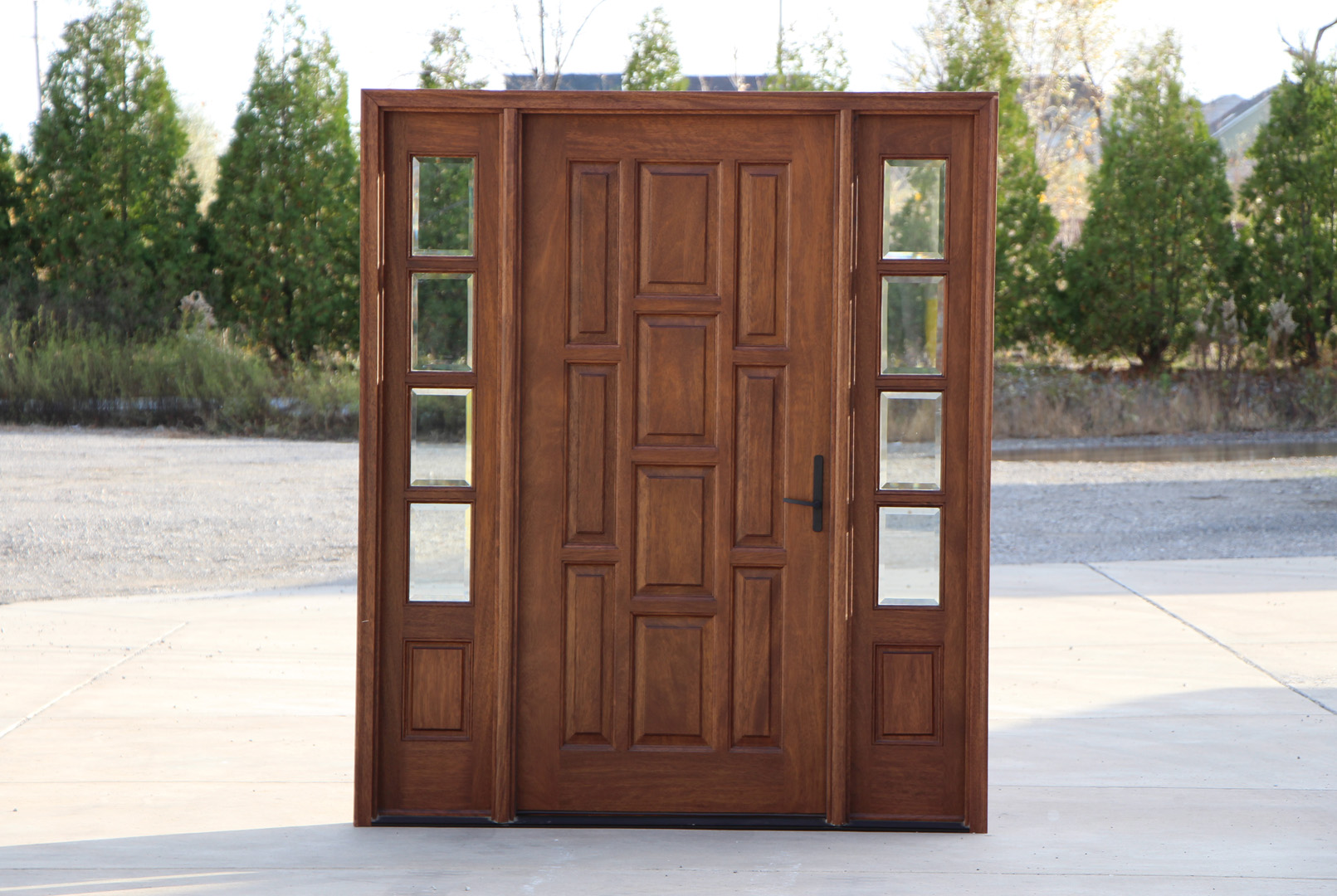 Mahogany entry Door with Sidelights with white handle