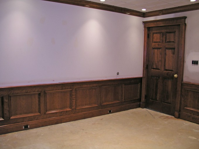 Mahogany Wood Vinyl Wainscoting Ideas With Wooden Door For Classy Rustic Home Interior Design Ideas