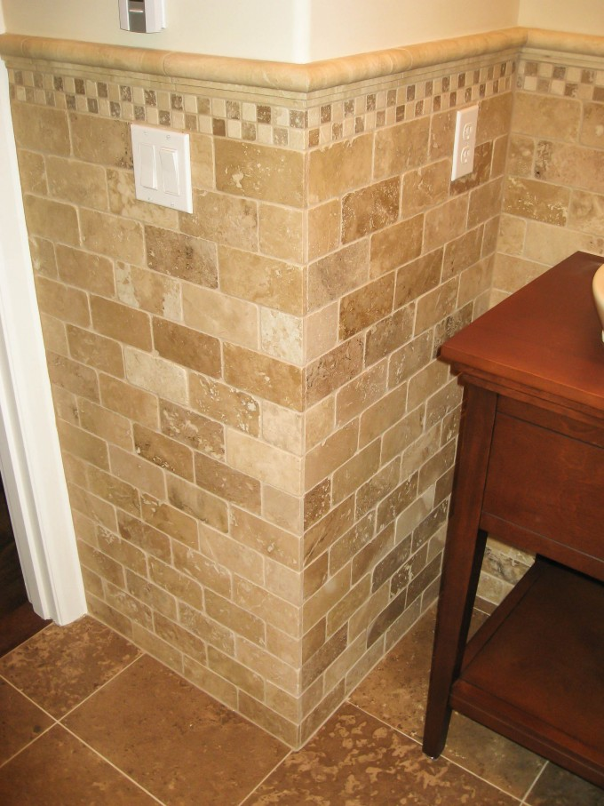 Marble Wainscoting Ideas With Wooden Table For Bathroom Ideas