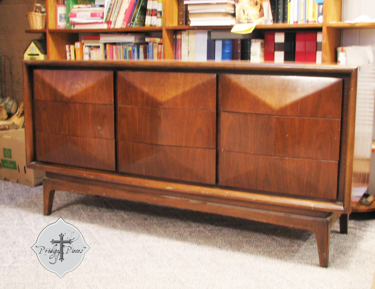 Mid Century Dresser curbed by many books