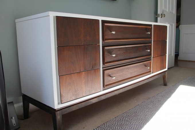 Mid Century Dresser In White And Brown With Grey Wall And Ceramic Floor