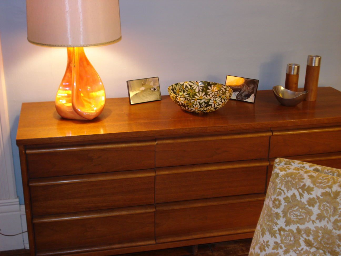 Mid Century dresser with cute table standing lamp and chair in floral motif