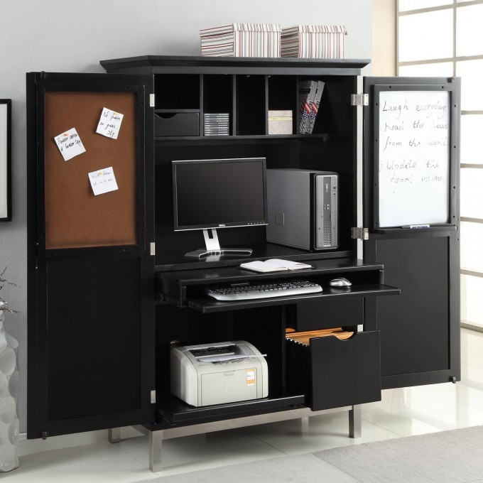 Modern Black Computer Armoire With Mini White Board And Note Paper Space Plus Storage