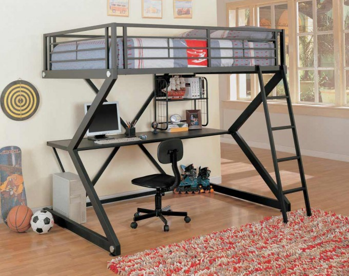 Modern Black Loft Beds For Teens With Computer Desk And Carpet