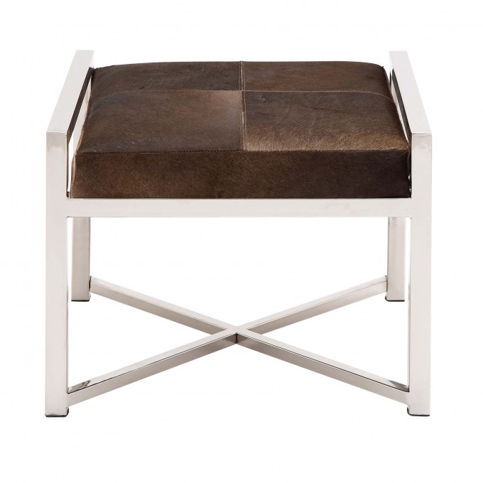 Modern Design Stainless Steel And Cowhide Ottoman