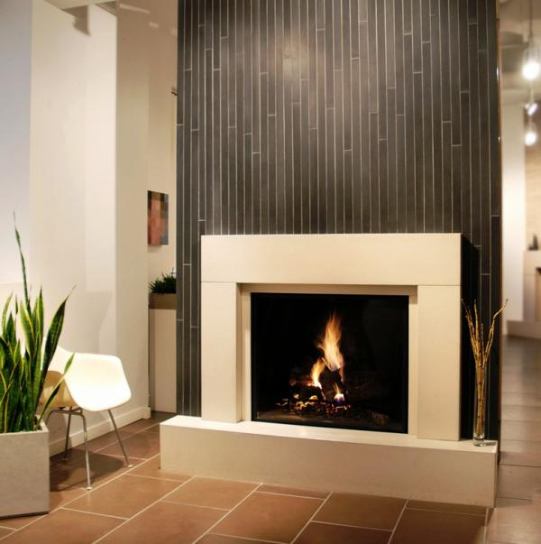 Modern Fireplace Mantel kits with single chair and ceramics floor