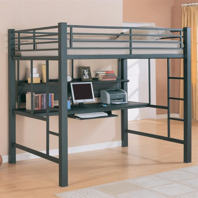 Modern Loft Beds For Teens With Desk And Computer Sets And Wooden Floor