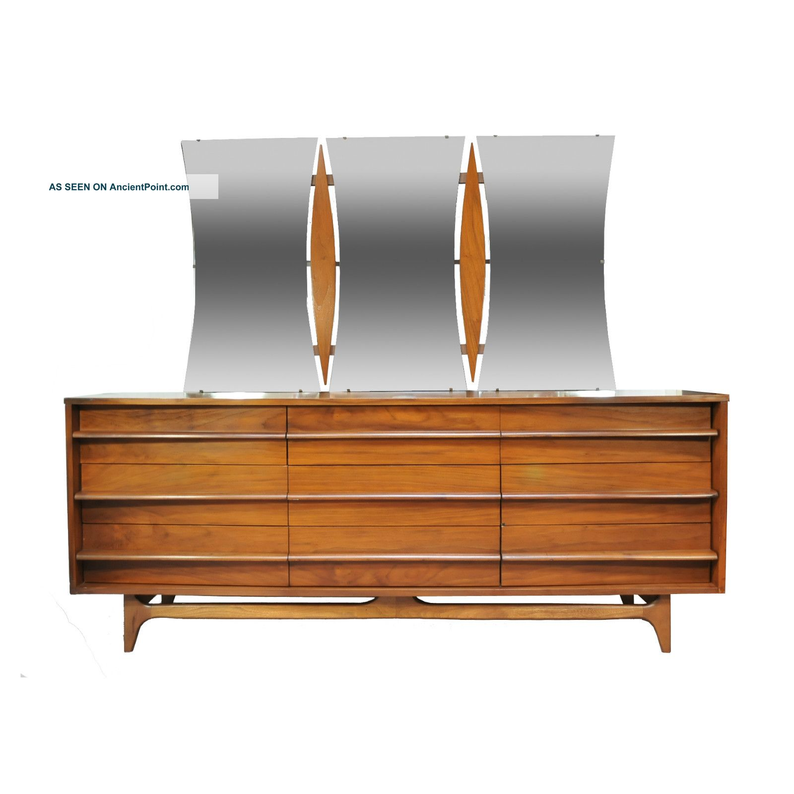 modern mid century dresser with mirrors and nine drawers and long handle