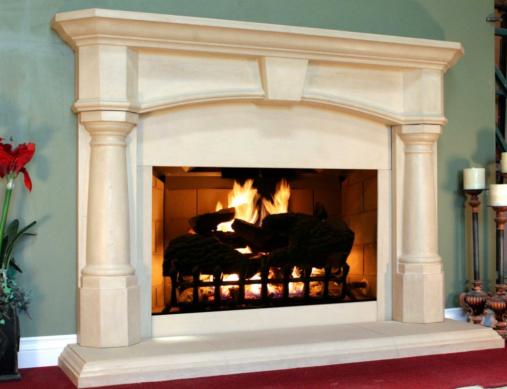modern theme of fireplace mantel kits with skyblue wall and red floor