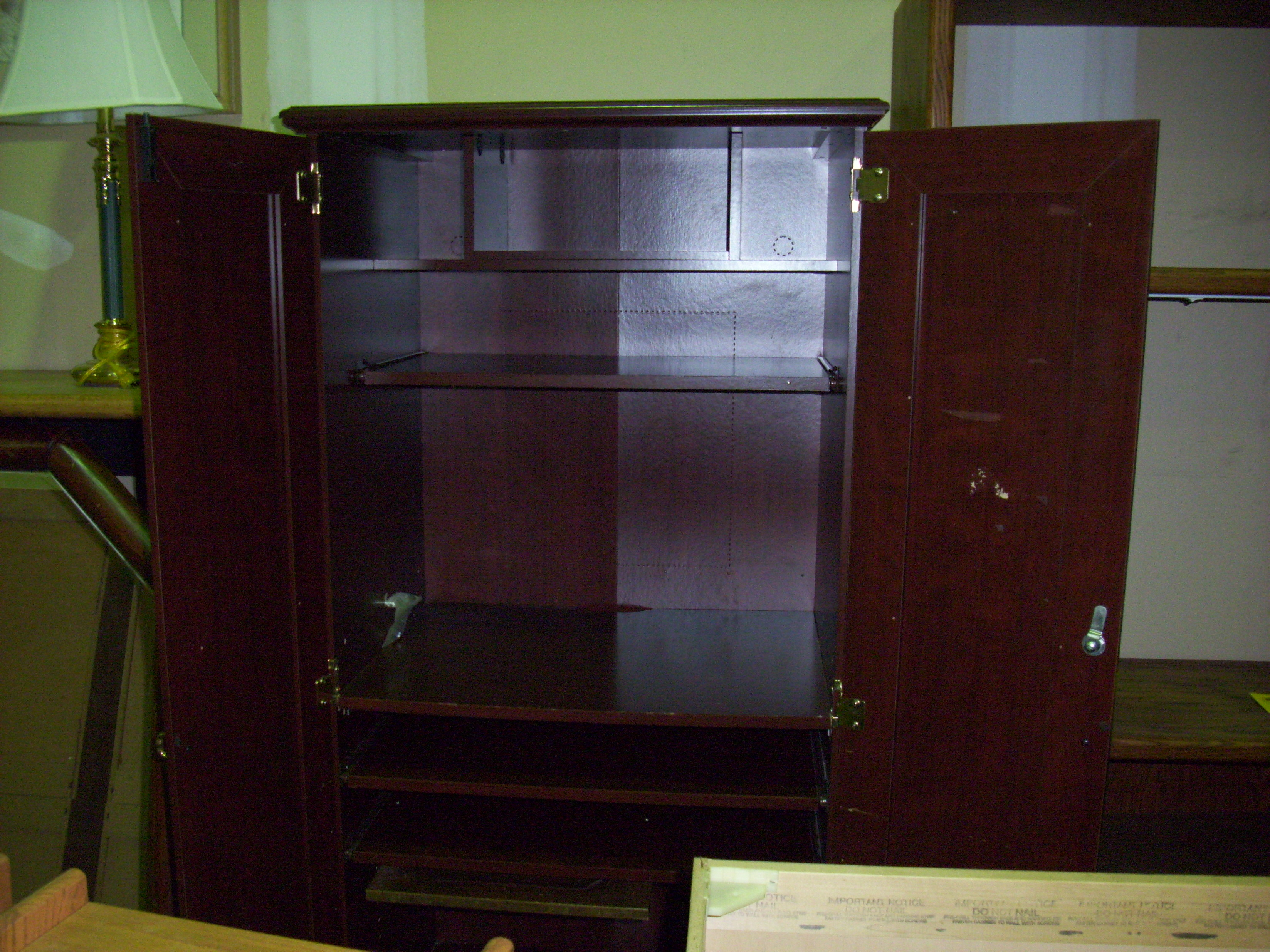 natural brown Computer Armoire For Your Compact Home Office