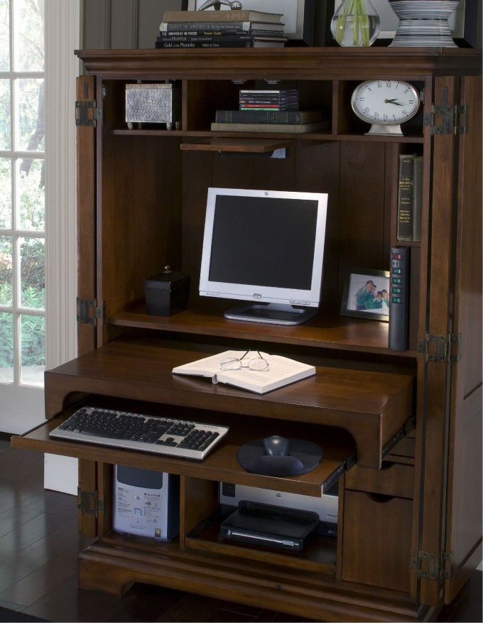 Natural Brown Wood Computer Armoire With Some Mini Ornaments