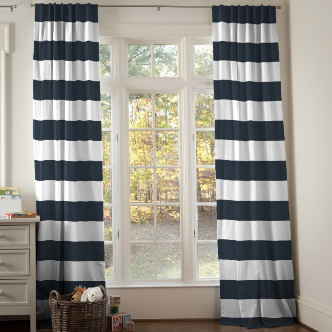 Navy And White Horizontal Stripe Curtains With White Bay Window And Wooden Floor