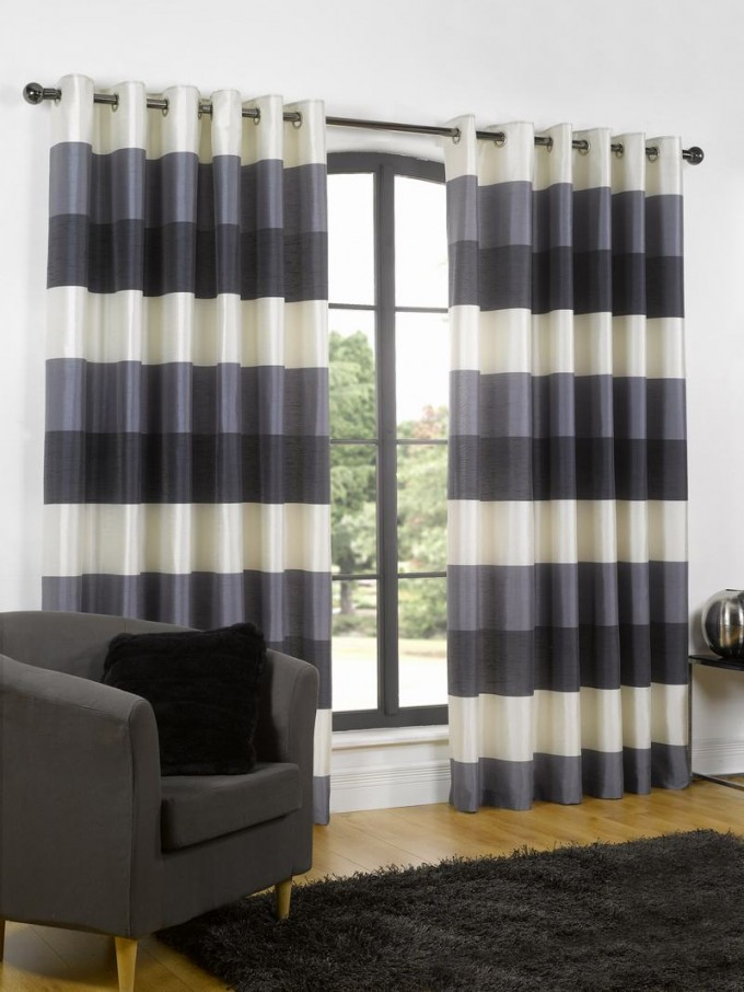 Navy Striped Curtains For Big Arch Window