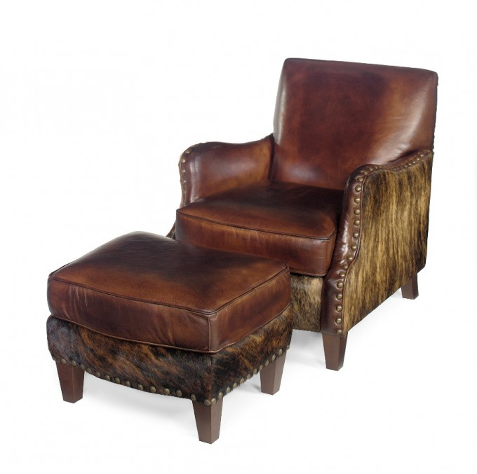 One Modern Cowhide Ottoman With Back And One Modern Cowhide Without Back
