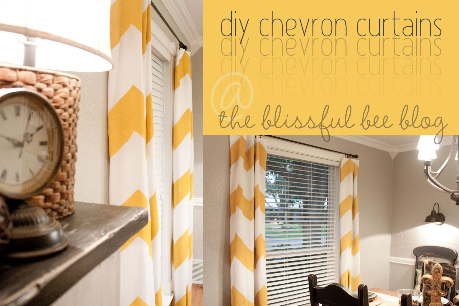 orange and white Chevron Curtains with white wall and brown finial