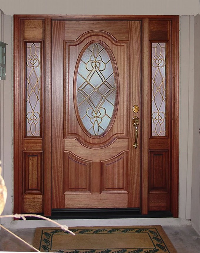 Oval Mahogany Wood Entry Door With Sidelights With Golden Handle Matched With White Wall